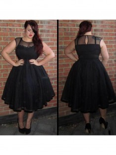 A-Line/Princess Scoop Ankle-Length Tulle Plus Size Dress