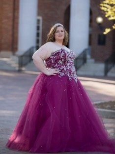 Ball Gown Sweetheart Floor-Length Tulle Plus Size Dress