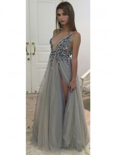 A-Line/Princess V-Neck Floor-Length Tulle Dress