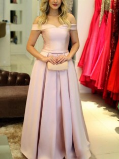 A-Line Off-the-Shoulder Sleeveless Floor-Length Satin Dress