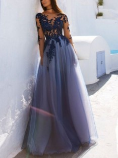 A-Line Scoop Long Sleeves Floor-Length Tulle Dress