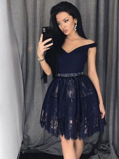A-Line Satin Lace Off-the-Shoulder Short Dress