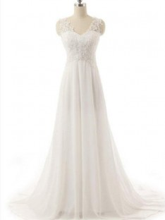A-Line V-neck Sweep/Brush Train Lace Chiffon Wedding Dress