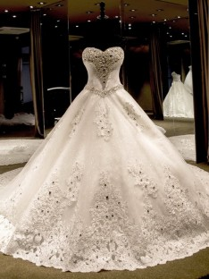 Ball Gown Sweetheart Cathedral Train Sequin Tulle Wedding Dress