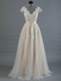A-Line V-neck Floor-Length Lace Wedding Dress