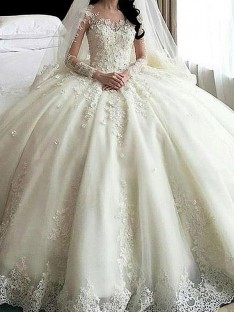 Ball Gown Scoop Cathedral Train Lace Tulle Wedding Dress