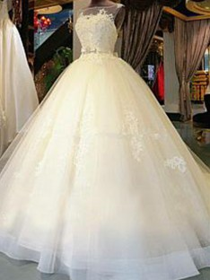 Ball Gown Scoop Cathedral Train Tulle Wedding Dress