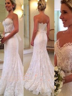 Mermaid Sweetheart Sweep/Brush Train Lace Wedding Dress