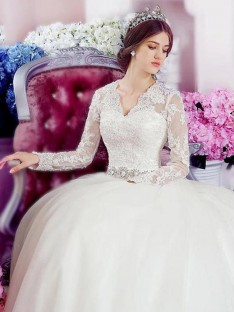 A-Line V-neck Cathedral Train Lace Tulle Wedding Dress