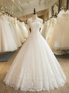 Ball Gown Off-the-Shoulder Floor-Length Lace Tulle Wedding Dress
