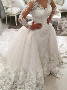 Ball Gown V-neck Cathedral Train Lace Tulle Wedding Dress