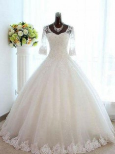 Ball Gown V-neck Tulle Bateau Floor-Length Wedding Dress