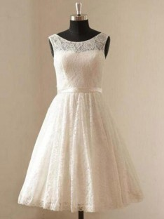 A-Line Scoop Lace Knee-Length Wedding Dress