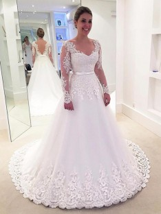 A-Line V-neck Lace Tulle Sweep/Brush Train Wedding Dress