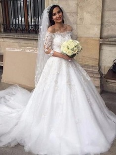 Ball Gown Tulle Off-the-Shoulder Chapel Train Wedding Dress