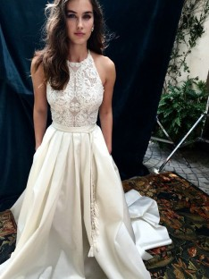 A-Line Satin Lace Halter Chapel Train Wedding Dress