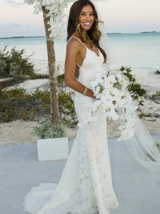 Mermaid Lace Spaghetti Straps Sweep/Brush Train Wedding Dress