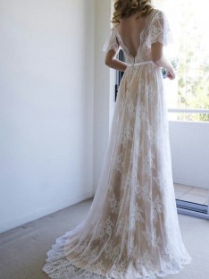A-Line Lace V-neck Sweep/Brush Train Wedding Dress