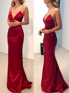 Sheath Spaghetti Straps V-neck Sweep/Brush Train Silk like Satin Dress