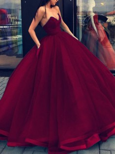 Ball Gown Sweetheart Organza Floor-Length Dress