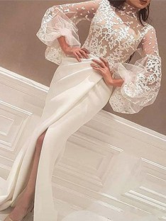 Mermaid Long Sleeves High Neck Sweep/Brush Train Lace Satin Dress