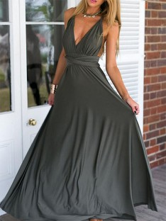 Empire V-neck Floor-Length Spandex Dress