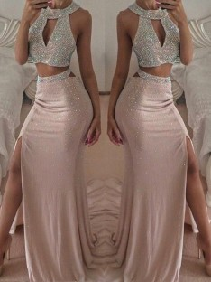 Mermaid Halter Floor-Length Chiffon Two Piece Dress
