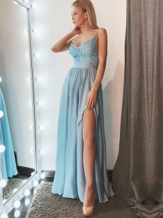 A-Line Spaghetti Straps Floor-Length Lace Chiffon Dress