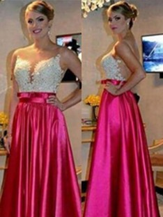 A-Line Sweetheart Floor-Length Satin Dress