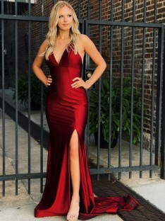 Mermaid V-neck Sweep/Brush Train Satin Dress