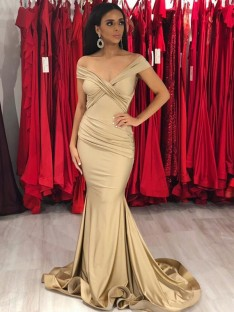 Mermaid Off-the-Shoulder Sweep/Brush Train Satin Dress