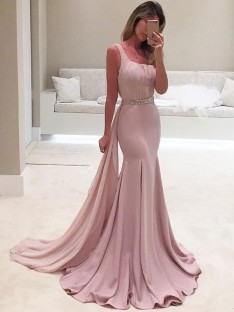 Mermaid One-Shoulder Sweep/Brush Train Chiffon Dress