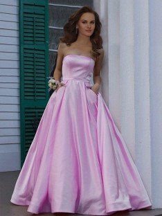 A-Line Strapless Floor-Length Satin Dress