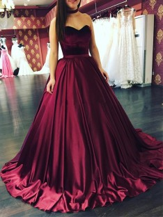 Ball Gown Sweetheart Sweep/Brush Train Satin Dress
