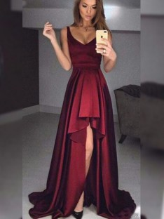 A-Line Straps Asymmetrical Satin Dress