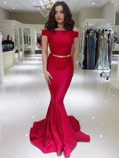 Mermaid Off-the-Shoulder Long Elastic Woven Satin Dress