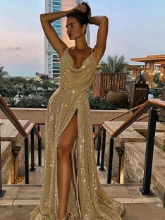 A-Line V-neck Long Sequins Dress
