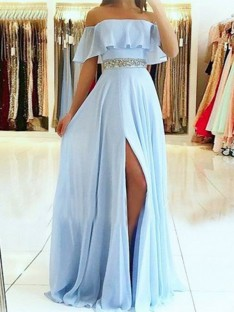 A-Line Off-the-Shoulder Long Chiffon Dress
