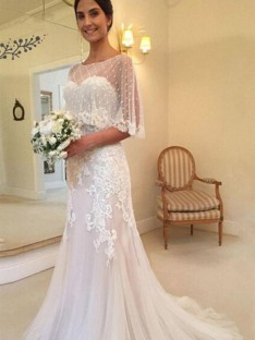 Sheath Tulle Sweetheart Long Wedding Dress
