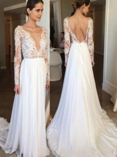 A-Line Chiffon Lace V-neck Long Sleeves Long Wedding Dress