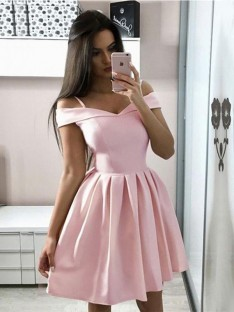 A-Line Satin Off-the-Shoulder Short Dress