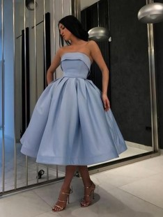 Ball Gown Satin Strapless Tea-Length Dress