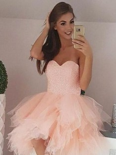 A-Line Tulle Sweetheart Short Dress