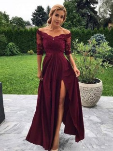 A-Line Satin Off-the-Shoulder 1/2 Sleeves Floor-Length Dress