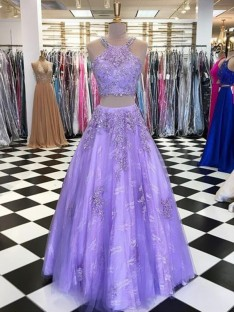 A-Line Tulle Halter Floor-Length Two Piece Dress