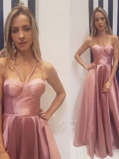 A-Line Satin Floor-Length Spaghetti Straps Dress