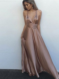 A-Line Spaghetti Straps Silk like Satin Floor-Length Dress