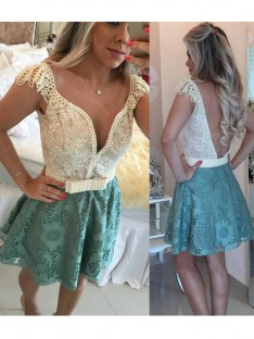 A-Line V-neck Beading Lace Short/Mini Dress