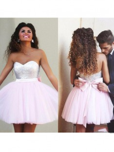 A-Line Sweetheart Beading Tulle Short/Mini Dress