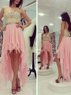 A-Line Sweetheart Beading Chiffon Asymmetrical Dress